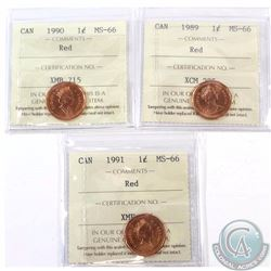 1-cent 1989, 1990 & 1991 ICCS Certified MS-66. 3pcs