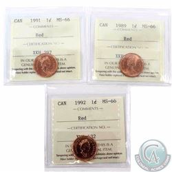 1-cent 1989, 1991 & 1992 ICCS Certified MS-66 Red. 3pcs