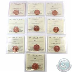 1-cent 1989 & 1991 to 1999 ICCS Certified MS-65 Red. 10pcs