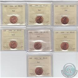 1-cent 1990, 1994, 1995, 1996, 1999, 2000 & 2001 ICCS Certified MS-65. 7pcs