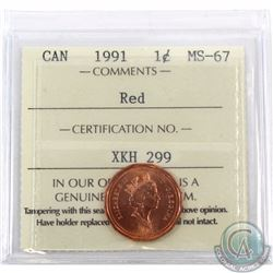 1-cent 1991 ICCS Certified MS-67 Red. Tied for finest Known by ICCS