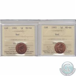 1-cent 1992 & 1993 ICCS Certified MS-66. 2pcs