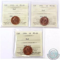 1-cent 1992, 1993 & 1994 ICCS Certified MS-66 Red. 3pcs