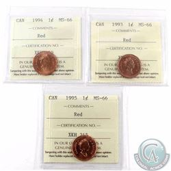 1-cent 1993, 1994 & 1995 ICCS Certified MS-66 Red. 3pcs