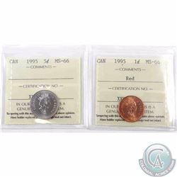 1-cent & 5-cent 1995 ICCS Certified MS-66. 2pcs