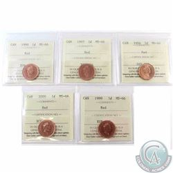 1-cent 1996, 1997, 1998, 1999 & 2000 ICCS Certified MS-66 Red. 5pcs
