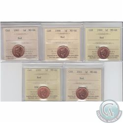 1-cent 1997, 1998, 1999, 2000, 2001 ICCS Certified MS-66 Red. 5pcs