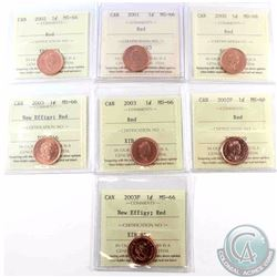 1-cent 2000, 2001, 2002, 2002P, 2003, 2003 New Effigy & 2003P New Effigy ICCS Certified MS-66 Red. 7