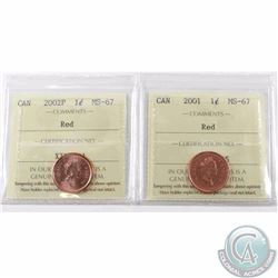 1-cent 2001 & 2002P ICCS Certified MS-67 Red. Both are tied for finest known. 2pcs