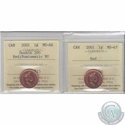 1-cent 2001 Double 200 ICCS MS-66 NBU & 2001 ICCS MS-67. 2pcs