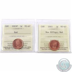 1-cent 2003 New Effigy & 2003P ICCS Certified MS-67 Red. Both tied for finest known. 2pcs