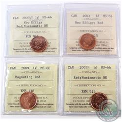 1-cent 2003 New Effigy, 2003WP New Effigy NBU, 2005P NBU & 2009 Magnetic ICCS Certified MS-66. 4pcs