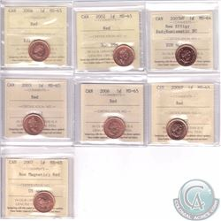 1-cent 2002, 2003, 2003WP New Effigy NBU, 2004, 2006, 2006P & 2007 Non Magnetic ICCS Certified MS-65