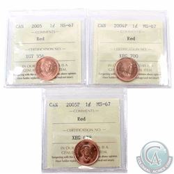 1-cent 2004P, 2005 & 2005P ICCS Certified MS-67 Red. All tied for the finest known. 3pcs