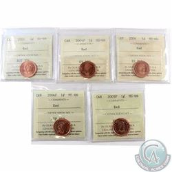 1-cent 2004, 2004P, 2005, 2005P & 2006P ICCS Certified MS-66 Red. 5pcs