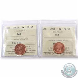 1-cent 2005 & 2005P ICCS Certified MS-67 Red. Both are tied for finest known. 2pcs