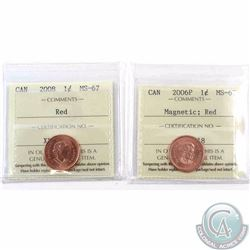 1-cent 2006P Magnetic & 2008 ICCS Certified MS-67 Red. 2pcs
