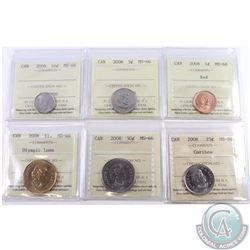 1-cent, 5-cent, 10-cent, 25-cent, 50-cent & Olympic Loon Dollar All Dated 2008 ICCS Certified MS-66.