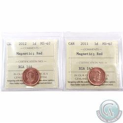 1-cent 2011 & 2012 ICCS Certified MS-67 Red; Magnetic. 2012 is tied for the highest known. 2pcs