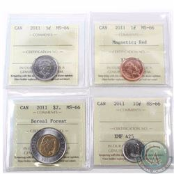 1-cent Magnetic, 5-cent, 10-cent & $2 Boreal Forest all 2011 ICCS Certified MS-66. 4pcs