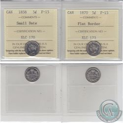 5-cent 1858 Small Date & 1870 Flat Border ICCS Certified F-15. 2pcs