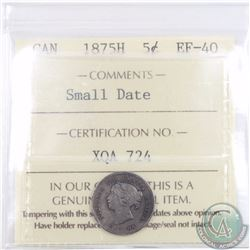 5-cent 1875H Small Date ICCS Certified EF-40. A key date coin with great eye appeal and original Pat