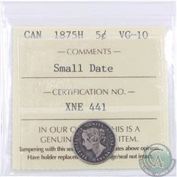 5-cent 1875H Small Date ICCS Certified VG-10