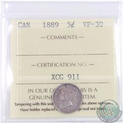 5-cent 1889 ICCS Certified VF-30