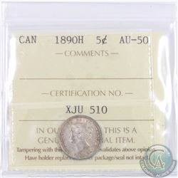 5-cent 1890H ICCS Certified AU-50. A bright  coin with lots of mint luster accented with light tonin