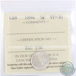 5-cent 1894 ICCS Certified VF-30
