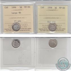 5-cent 1896 Large 96 ICCS Certified VF-30 & 1898 VF-20. 2pcs