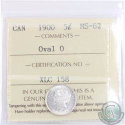 5-cent 1900 Oval 0 ICCS Certified MS-62. A bright flashy coin with lustrous fields.