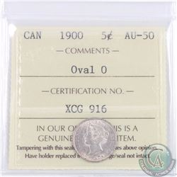 5-cent 1900 Oval 0 ICCS Certified AU-50