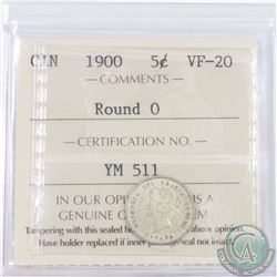 5-cent 1900 Round 0 ICCS Certified VF-20