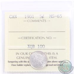 5-cent 1901 ICCS Certified MS-65. A nice last year issue Victorian Silver Nickel, with soft satin Fi