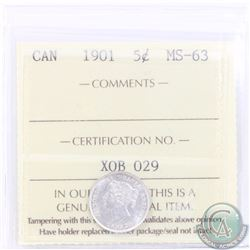 5-cent 1901 ICCS Certified MS-63. A near full White coin with sharp details.