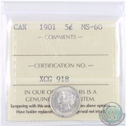 5-cent 1901 ICCS Certified MS-60