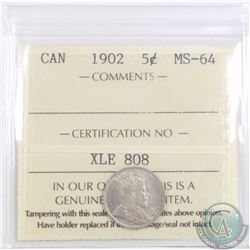 5-cent 1902 ICCS Certified MS-64