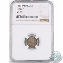 5-cent 1908 Large 8 NGC Certified AU-58