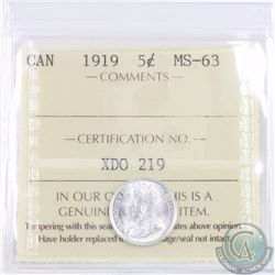 5-cent 1919 ICCS Certified MS-63