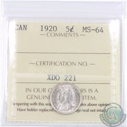 5-cent 1920 ICCS Certified MS-64
