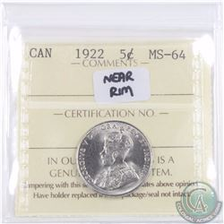 5-cent 1922 Near Rim ICCS Certified MS-64