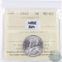 5-cent 1922 Near Rim ICCS Certified MS-63