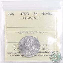 5-cent 1923 ICCS Certified MS-60