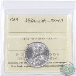 5-cent 1924 ICCS Certified MS-63