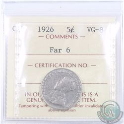 5-cent 1926 Far 6 ICCS Certified VG-8
