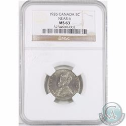 5-cent 1926 Near 6 ICCS Certified MS-63. Tied for the 2nd highest grade! Low POP!