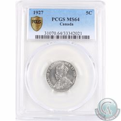 5-cent 1927 PCGS Certified MS-64