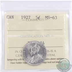 5-cent 1927 ICCS Certified MS-63