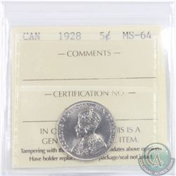 5-cent 1928 ICCS Certified MS-64
